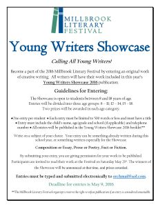 2016 Young Writers Showcase Flyer