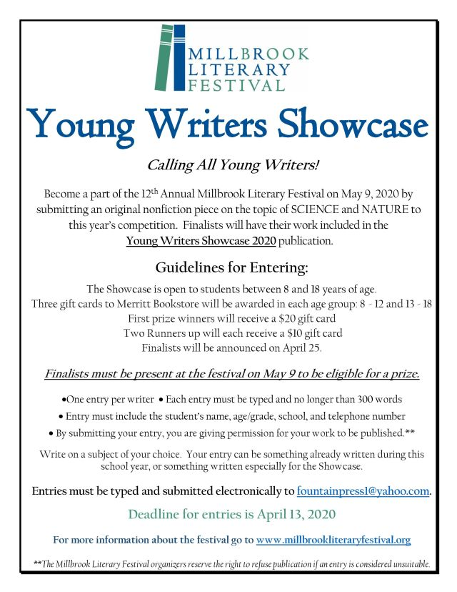 2020 Young Writers Showcase Flyer